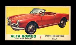 1961 TOPPS SPORTS CARS #49 ALFA ROMEO GIULIETTA SPIDER EXMT
