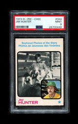 1973 JIM HUNTER OPC #344 O PEE CHEE BOYHOOD PHOTO PSA 9