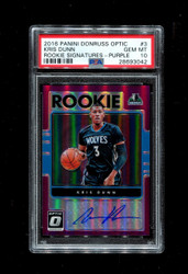 2016 KRIS DUNN PANINI OPTIC #3 ROOKIE SIGNATURES - PURPLE AUTO PSA 10