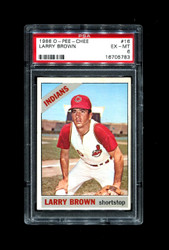 1966 LARRY BROWN OPC #16 O PEE CHEE INDIANS PSA 6