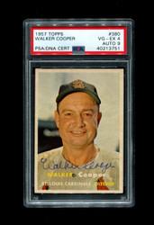 1957 WALKER COOPER TOPPS #380 CARDINALS PSA/DNA 4 AUTO 9