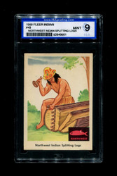 1959 FLEER INDIAN #49 NORTHWEST INDIAN SPLITTING LOGS ISA 9