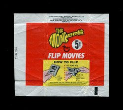 1967 THE MONKIES TOPPS FLIP MOVIES WAX WRAPPER