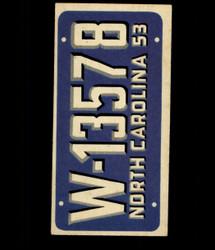 1953 TOPPS LICENSE PLATES #27 NORTH CAROLINA *7105
