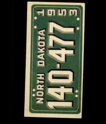 1953 TOPPS LICENSE PLATES #62 NORTH DAKOTA *7169