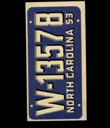 1953 TOPPS LICENSE PLATES #27 NORTH CAROLINA *5820