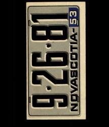 1953 TOPPS LICENSE PLATES #52 NOVASCOTIA *5229