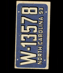 1953 TOPPS LICENSE PLATES #27 NORTH CAROLINA *6758