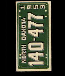 1953 TOPPS LICENSE PLATES #62 NORTH DAKOTA *2020