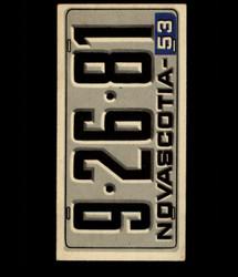 1953 TOPPS LICENSE PLATES #52 NOVASCOTIA *2010