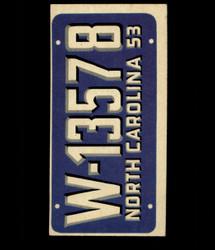 1953 TOPPS LICENSE PLATES #27 NORTH CAROLINA *2002
