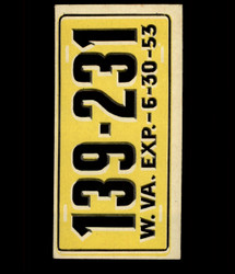 1953 TOPPS LICENSE PLATES #68 WEST VIRGINIA *1996
