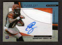 2012 MOHAMED SANU  TOPPS STRATA CLEAR CUT AUTO 3 COLOR JERSEY 63/75