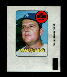 1969 DON DRYSDALE TOPPS DECAL DODGERS VGEX *1617