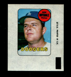1969 DON DRYSDALE TOPPS DECAL DODGERS EX *3979