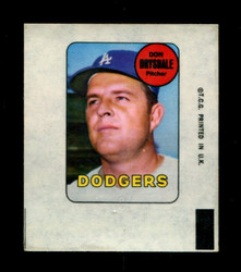 1969 DON DRYSDALE TOPPS DECAL DODGERS EX *4022