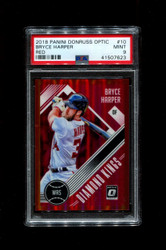 2018 BRYCE HARPER PANINI OPTIC #10 RED #/99 DIAMOND KINGS PSA 9