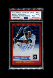2018 MIGUEL ANDUJAR PANINI OPTIC RATED ROOKIE RETRO '84 RED #/50 AUTO PSA 9