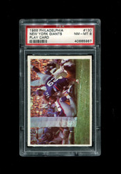 1966 NEW YORK GIANTS PHILADELPHIA #130 PLAY CARD PSA 8