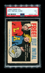 1958 TOPPS CFL FOOTBALL FELT INITIAL CARD PSA 3
