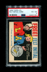 1958 TOPPS CFL FOOTBALL FELT INITIAL CARD PSA 4