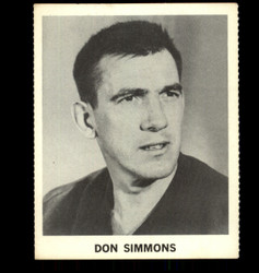 1965 DON SIMMONS COKE NHL COCA COLA MAPLE LEAFS *R1334