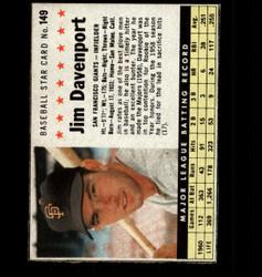 1961 JIM DAVENPORT POST #149 GIANTS *8424