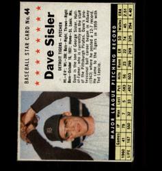 1961 DAVE SISLER POST #44 TIGERS *1639