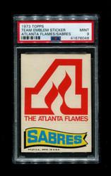 1973 ATLANTA FLAMES/SABRES TOPPS TEAM EMBLEM STICKERS PSA 9