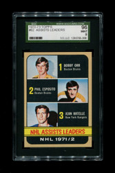 1972 ASSISTS LEADERS TOPPS #62 BOBBY ORR SGC 96 MINT 9