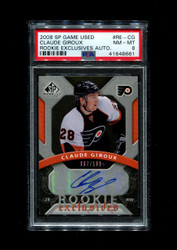 2008 CLAUDE GRIOUX SP GAME USED ROOKIE EXCLUSIVES AUTO PSA 8