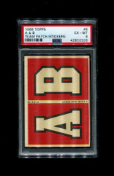 1968 A & B TOPPS #6 TEAM PATCH STICKERS FOOTBALL PSA 6