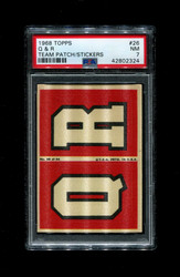 1968 Q & R TOPPS #26 TEAM PATCH STICKERS FOOTBALL PSA 7