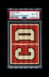 1968 C & D TOPPS 37 TEAM PATCH STICKERS FOOTBALL PSA 8