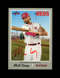 2019 MATT KEMP HERITAGE HIGH NUMBER REAL ONE AUTO #/70 RED *8833