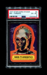 1977 STAR WARS STICKER TOPPS #5 SEE-THREEPIO PSA 6