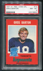 1971 GREG BARTON OPC CFL #14 O PEE CHEE PSA 8!