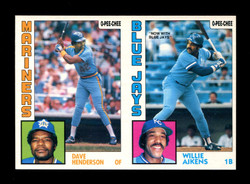 1984 DAVE HENDERSON WILLIE AIKENS O-PEE-CHEE 2 CARD UNCUT PANEL