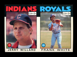 1986 JERRY WILLARD FRANK WHITE O-PEE-CHEE 2 CARD UNCUT PANEL