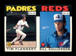 1986 TIM FLANNERY BILL GULLICKSON O-PEE-CHEE 2 CARD UNCUT PANEL