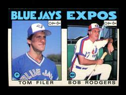 1986 TOM FILER BOB RODGERS  O-PEE-CHEE 2 CARD UNCUT PANEL