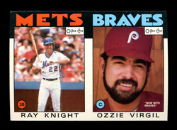 1986 RAY KNIGHT OZZIE VIRGIL O-PEE-CHEE 2 CARD UNCUT PANEL