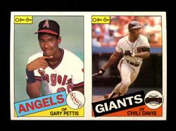 1985 GARY PETTIS CHILI DAVIS O-PEE-CHEE 2 CARD UNCUT PANEL