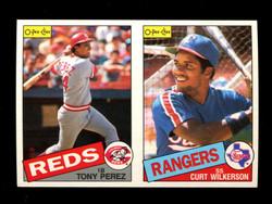 1985 TONY PEREZ CURT WILKERSON O-PEE-CHEE 2 CARD UNCUT PANEL
