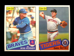 1985 BOB HORNER DAN PETRY O-PEE-CHEE 2 CARD UNCUT PANEL