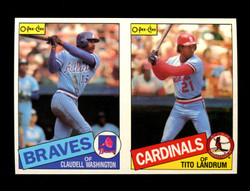 1985 CLAUDELL WASHINGTON TITO LANDRUM O-PEE-CHEE 2 CARD UNCUT PANEL