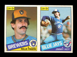 1985 ROLLIE FINGERS JIMMY KEY O-PEE-CHEE 2 CARD UNCUT PANEL