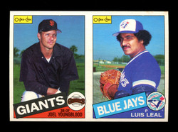 1985 JOEL YOUNGBLOOD LUIS LEAL O-PEE-CHEE 2 CARD UNCUT PANEL