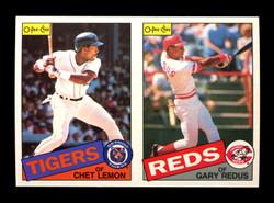 1985 CHET LEMON GARY REDUS O-PEE-CHEE 2 CARD UNCUT PANEL