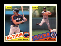 1985 ALAN ASHBY LOU WHITAKER O-PEE-CHEE 2 CARD UNCUT PANEL